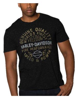 Harley-Davidson Men's Circle Sign Soft Blend Short Sleeve T-Shirt, Black Fleck - Wisconsin Harley-Davidson