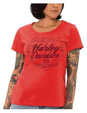 Harley-Davidson Women's Dusty Script Short Sleeve Poly-Blend T-Shirt, Red - Wisconsin Harley-Davidson