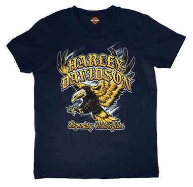 Harley-Davidson Boy's Screaming Short Sleeve Cotton Tee, Toddler & Youth, Navy - Wisconsin Harley-Davidson