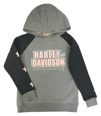 Harley-Davidson Big Girls' Colorblocked Foil Fleece Pullover Hoodie, Gray - Wisconsin Harley-Davidson