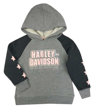 Harley-Davidson Little Girls' Colorblocked Foil Fleece Pullover Hoodie, Gray - Wisconsin Harley-Davidson