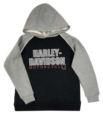 Harley-Davidson Big Boys' #1 Logo Fleece Pullover Hoodie, Black & Gray - Wisconsin Harley-Davidson