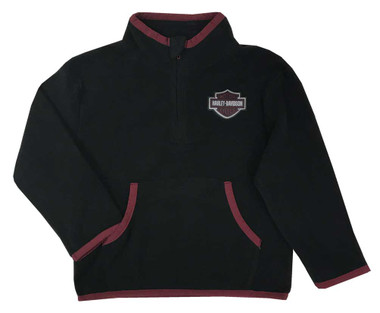 Harley-Davidson Little Boys' Micro Polar Tech Fleece Toddler Pullover - Black - Wisconsin Harley-Davidson