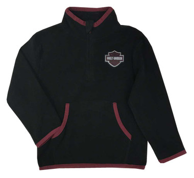 Harley-Davidson Big Boys' Micro Polar Tech Mock Neck Fleece Pullover - Black - Wisconsin Harley-Davidson