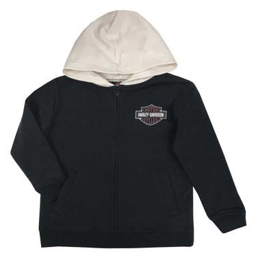 Harley-Davidson Little Boys' B&S Fleece Lined Hooded Zip Toddler Jacket, Black - Wisconsin Harley-Davidson