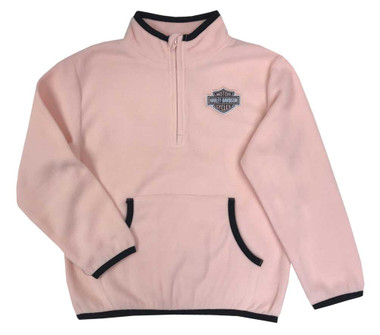 Harley-Davidson Little Girls' Micro Polar Tech Fleece Sweatshirt - Light Pink - Wisconsin Harley-Davidson