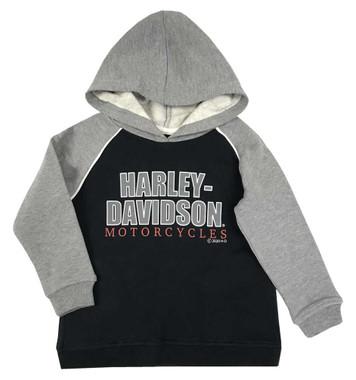 Harley-Davidson Little Boys' #1 Fleece Pullover Toddler Hoodie, Black & Gray - Wisconsin Harley-Davidson
