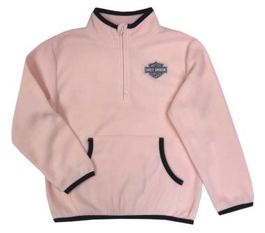 Harley-Davidson Big Girls' Micro Polar Tech Fleece Sweatshirt - Light Pink - Wisconsin Harley-Davidson