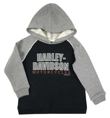 Harley-Davidson Little Boys' #1 Logo Fleece Pullover Hoodie, Black & Gray - Wisconsin Harley-Davidson