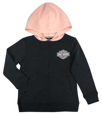 Harley-Davidson Big Girls' B&S Fleece Lined Hooded Zip Jacket, Black 6544009 - Wisconsin Harley-Davidson