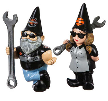 Harley-Davidson Sculpted Mechanic Male & Lady Garden Gnome Set - Black - Wisconsin Harley-Davidson