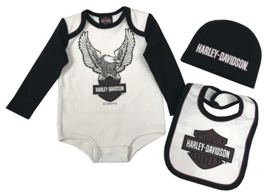 Harley-Davidson Baby Boys' 3-Piece Eagle Newborn Creeper Set w/ Hat & Bib, Cream - Wisconsin Harley-Davidson
