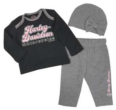 Harley-Davidson Baby Girls' 3-6 Month Foiled 3-Piece Gift Set w/ Gift Bag 2503041 - Wisconsin Harley-Davidson