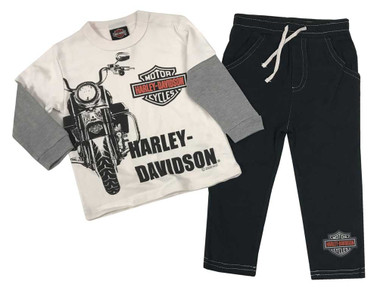 Harley-Davidson Little Boys' 2-Piece Long Sleeve Tee w/ Knit Fleece Pants 2073007 - Wisconsin Harley-Davidson