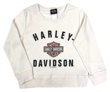 Harley-Davidson Little Girls' Pink B&S Long Sleeve Knit Top - Cream 1034019 - Wisconsin Harley-Davidson