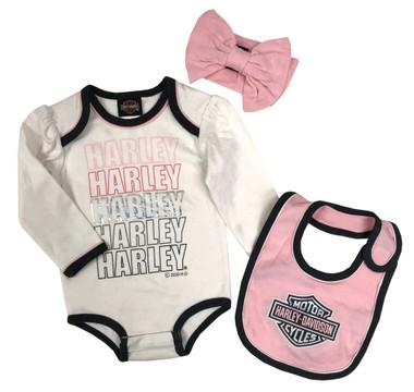 Harley-Davidson Baby Girls' 3-Piece Foiled Newborn Creeper Set w/ Bow & Bib - Wisconsin Harley-Davidson
