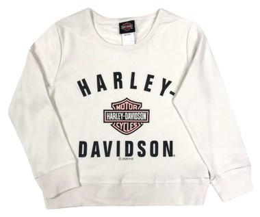 Harley-Davidson Big Girls' Pink B&S Long Sleeve Knit Top - Cream 1044019 - Wisconsin Harley-Davidson