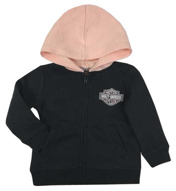 Harley-Davidson Baby Girls' B&S Fleece Lined Hooded Newborn Jacket,Black 6504009 - Wisconsin Harley-Davidson
