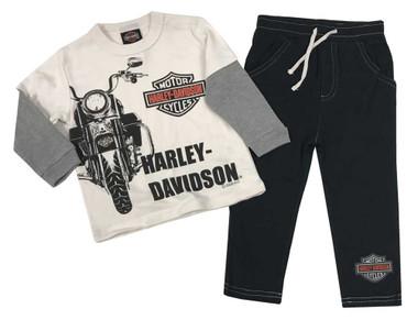 Harley-Davidson Baby Boys' 2-Piece Long Sleeve Tee w/ Knit Fleece Pants 2063007 - Wisconsin Harley-Davidson