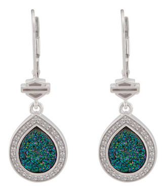 Harley-Davidson Women's Teardrop Green Druzy Dangle Earrings, Sterling Silver - Wisconsin Harley-Davidson