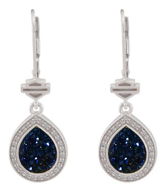 Harley-Davidson Women's Teardrop Blue Druzy Dangle Earrings, Sterling Silver - Wisconsin Harley-Davidson