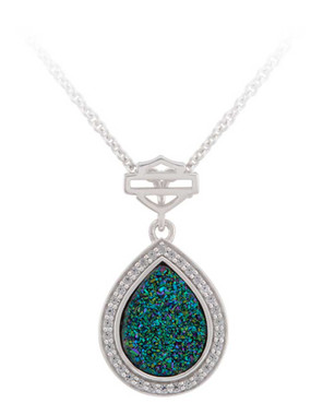 Harley-Davidson Women's Teardrop Green Druzy Pendent Necklace, Sterling Silver - Wisconsin Harley-Davidson