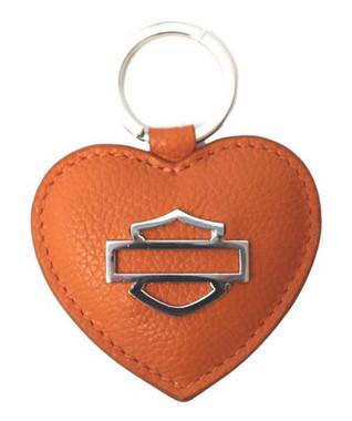 Harley-Davidson Women's Heart B&S Medallion Leather Key Fob ZWL5898-ORANGE - Wisconsin Harley-Davidson
