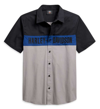 Harley-Davidson Men's Colorblocked Logo Short Sleeve Woven Shirt 96311-21VM - Wisconsin Harley-Davidson