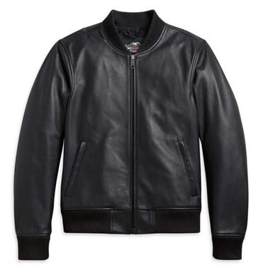 Harley-Davidson Men's Leather Bomber Functional Jacket - Black 97002-21NM - Wisconsin Harley-Davidson