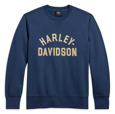 Harley-Davidson Men's Stack Logo Pullover Sweatshirt - Indigo Blue 96098-21VM - Wisconsin Harley-Davidson