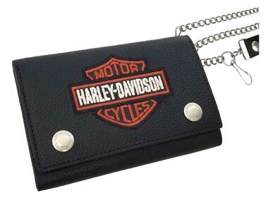 Harley-Davidson Mens Embroidered B&S Trucker Tri-Fold Plus Leather Wallet, Black - Wisconsin Harley-Davidson