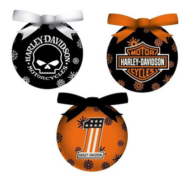 Harley-Davidson 6 Piece H-D Logos Light-Up LED Ball Ornament Box Set, 3OT4900LED - Wisconsin Harley-Davidson