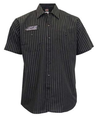 Harley-Davidson Men's Screamin' Eagle Pinstripe Woven Shop Shirt - Black - Wisconsin Harley-Davidson