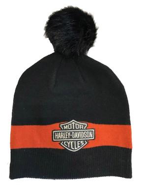 Harley-Davidson Women's B&S Logo Knit Bobble Beanie Cap - Black 97629-21VW - Wisconsin Harley-Davidson
