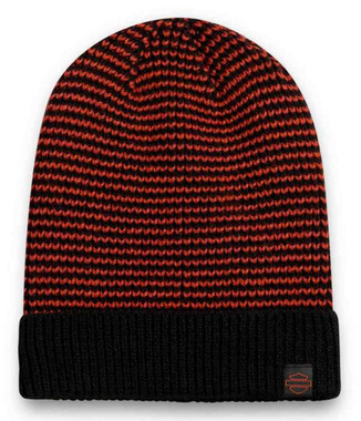 Harley-Davidson Women's Woven B&S Knit Beanie Cap - Orange & Black 97633-21VW - Wisconsin Harley-Davidson