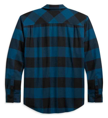 Harley-Davidson Men's Buffalo Plaid Long Sleeve Cotton Shirt, Teal 96270-21VM - Wisconsin Harley-Davidson