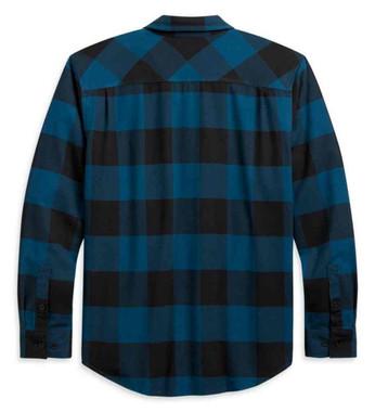 Harley-Davidson Men's Buffalo Plaid Long Sleeve Cotton Shirt, Teal 96270-21VM - Wisconsin Harley-Davidson