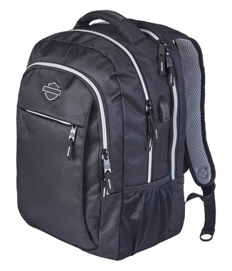 Harley-Davidson Weird II Hi-Tech External USB Port Backpack - Silver & Black - Wisconsin Harley-Davidson