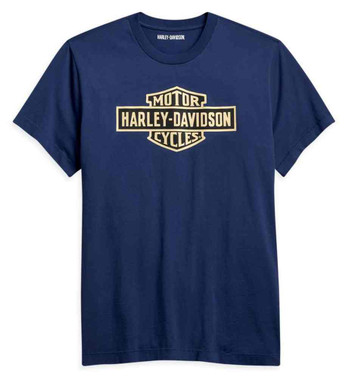 Harley-Davidson Men's Vintage Logo Short Sleeve Cotton T-Shirt - Blue 96194-21VM - Wisconsin Harley-Davidson