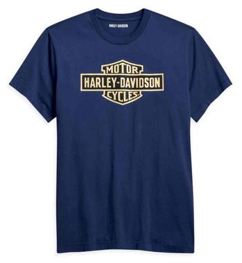 Harley-Davidson Men's Vintage Logo Short Sleeve Cotton T-Shirt - Blue 96194-21VM - Wisconsin Harley-Davidson