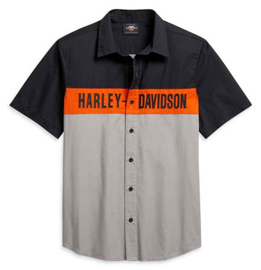 Harley-Davidson Men's Colorblocked Logo Short Sleeve Woven Shirt 96201-21VM - Wisconsin Harley-Davidson