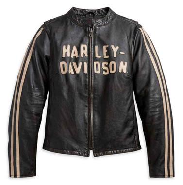 Harley-Davidson Women's Sleeve Stripe Leather Jacket, Black 97000-21VW - Wisconsin Harley-Davidson