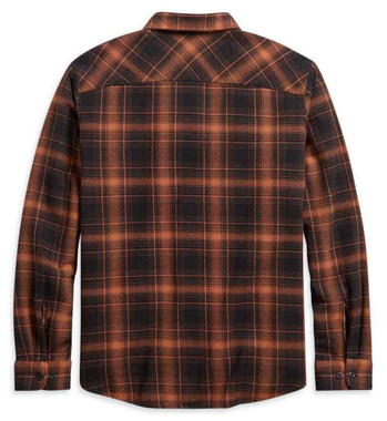 Harley-Davidson Men's Vintage Plaid Long Sleeve Woven Shirt, Orange 96196-21VM - Wisconsin Harley-Davidson