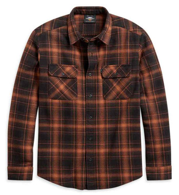 Harley-Davidson Men's Vintage Plaid Long Sleeve Woven Shirt, Orange 96196-21VM - Wisconsin Harley-Davidson