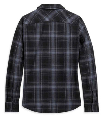 Harley-Davidson Women's Vintage Plaid Long Sleeve Woven Cotton Shirt 96227-21VW - Wisconsin Harley-Davidson
