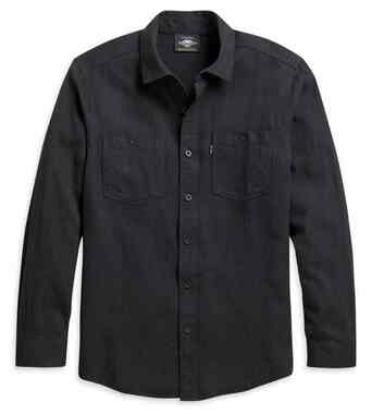 Harley-Davidson Men's Two Pocket Long Sleeve Woven Shirt, Black 96203-21VM - Wisconsin Harley-Davidson