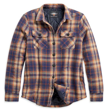 Harley-Davidson Women's Quilted Lining Cotton Plaid Shirt Jacket 96228-21VW - Wisconsin Harley-Davidson
