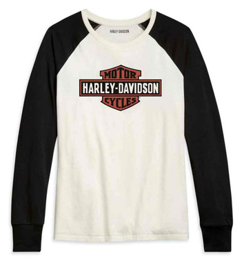 Harley-Davidson Women's Vintage Logo Colorblocked Long Sleeve Shirt 96092-21VW - Wisconsin Harley-Davidson