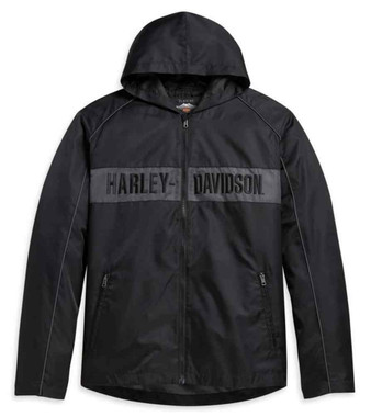Harley-Davidson Men's Hooded Stripe Nylon Casual Jacket, Black 97432-21VM - Wisconsin Harley-Davidson