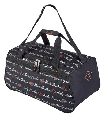 Harley-Davidson Signature Script Sports Duffel Bag w/ Adjustable Strap - Black - Wisconsin Harley-Davidson